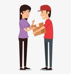 delivery worker with receiver vector image