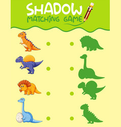 Dinosaur matching shadow game template vector