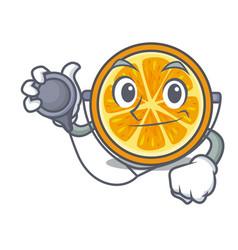 Doctor orange character cartoon style vector
