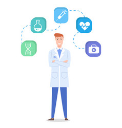 doctor wearing medical gown medicine web icon vector image