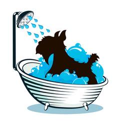 Dog taking a bath animal care vector