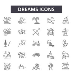 dreams line icons signs set outline vector image