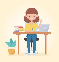Education online student girl studying in desk vector