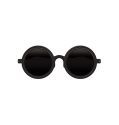 Elegant round circular sunglasses with black vector