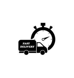 fast delivery icon shipping truck black on white vector image