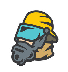 firefighter in mask sign vector image
