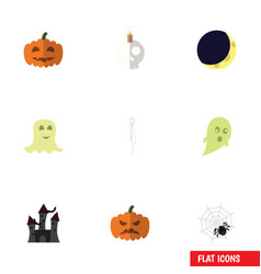 Flat icon celebrate set of pumpkin spinner gourd vector