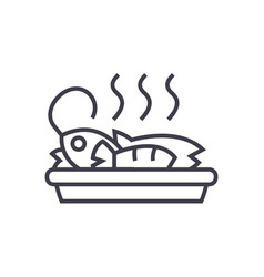 fried fish lunch line icon sign vector image