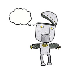 Funny cartoon robot with open head with thought vector