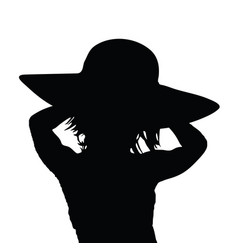 Girl silhouette with hat in black color vector