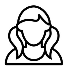 Girl with tails avatar line icon faceless girl vector