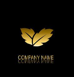 Golden leaves symbol vector