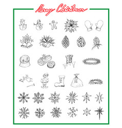 hand drawn sketch collection of various lovely vector image