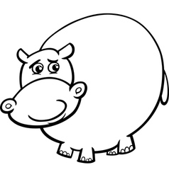 Hippopotamus cartoon coloring page vector