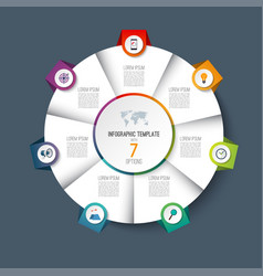 Infographic pie chart circle with 7 options vector