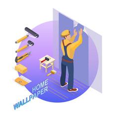 Isometric interior repairs concept builder pastes vector