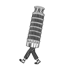 leaning tower pisa walk sketch engraving vector image