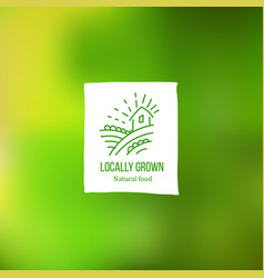 Locally grown label at green backdrop vector