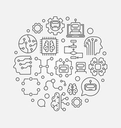 machine learning circular technology vector image
