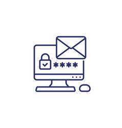 Mail access authentication with password icon vector