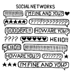Messenger bubbles speak icons sketch set vector
