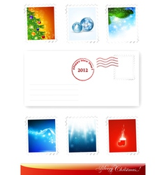 New year and christmas poststamps vector