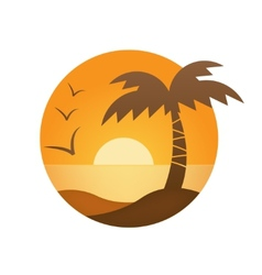 Orange sunset palm vector