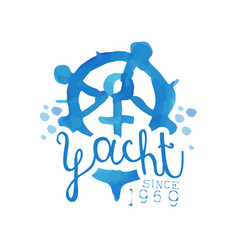 Original blue emblem for yacht club hand drawn vector