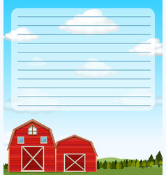 paper template with red barns in field vector image