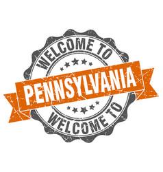 pennsylvania round ribbon seal vector image