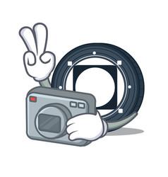 Photographer byteball bytes coin mascot cartoon vector