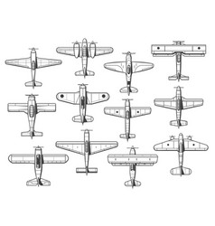 plane icons airplanes and aircraft icons retro vector image