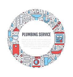 plumbing service colored banner vector image