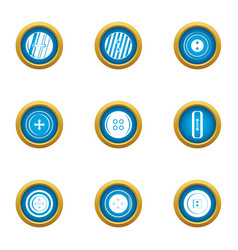 Push button icons set flat style vector