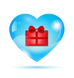 Red gift box inside heart vector