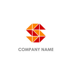 S initial triangle colored logo vector
