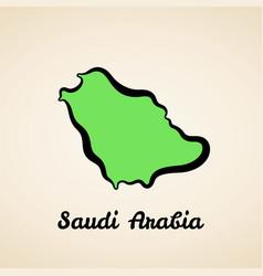saudi arabia - outline map vector image