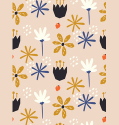 seamless floral pattern in scandinavian style vector image