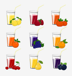 set fresh citrus fruit and berries juices vector image