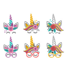 set isolated lovely unicorn faces vector image