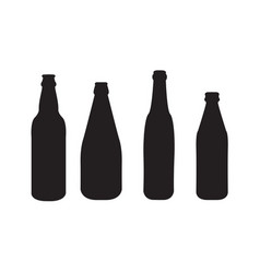 set of 4 beer bottles silhouettes vector image