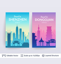 shenzhen and dongguan famous chinese city scapes vector image