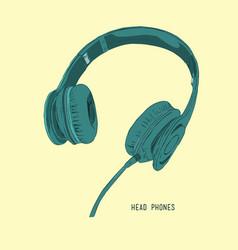 Sketch style headphones vector