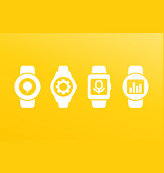 smart watch wearable devices icons vector image