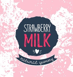 Strawberry milk graphic design with stylish label vector image
