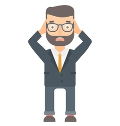 Stressful office worker clutching his head vector image