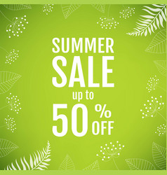 Summer sale poster with floral element vector
