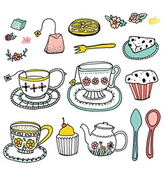 Tea Time Doodle Clip Art vector image