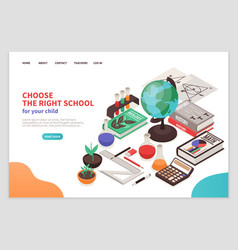 Teachers and school page design vector
