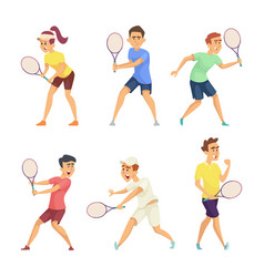 Tennis players isolate on white background vector